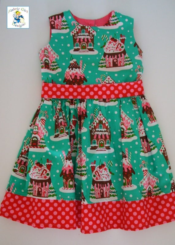 Girls christmas dress gingerbread house holidays