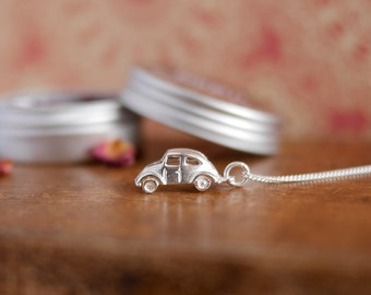 VW Beetle Sterling Silver Necklace; bug, for her, vdub, gift idea, chain, jewellery, van, boho, car, volkswagen, roadtrip, retro, jewelry