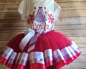 Cheerleader Tutu Costume Pink Themed Personalized with Name