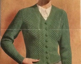 Original Vintage Knitting Pattern for Ladies Cardigan 1940s