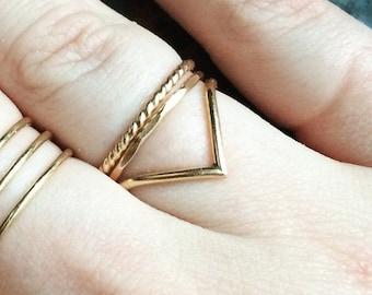 Gold Filled x3 stacking ring set
