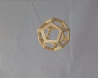 Wood Dodecahedron- Hanging Wood Geometric Ornament