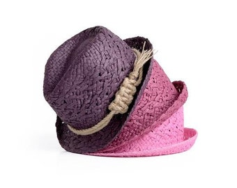 Sailor Knot Fedora Hats for women in many different colors, decorated with a jute cord , Gift for her.