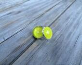 Lemon Lime earrings, stud earrings, Fruit stud earrings, cabochon earrings, 12mm earrings