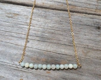 Delicate Aventurine Necklace, Bar Necklace, 14k gold necklace, Aventurine Gold Necklace, Smooth Beaded Aqua Necklace