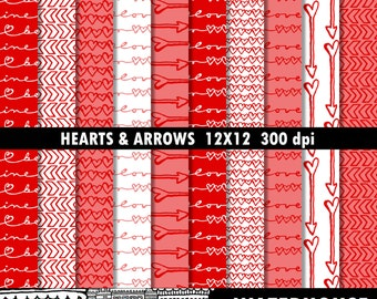 Valentine Digital Paper Pack INSTANT DOWNLOAD hearts & arrows red pink white love be mine digital scrapbook paper valentine cards background