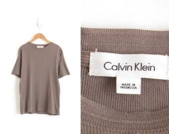 Vintage Calvin Klein T Shirt 90s Minimalist Shirt 90s Ribbed Top Minimal T Shirt Olive Green Tee Aesthetic Mens Small, Womens Medium-Large