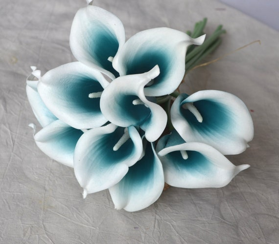 10 picasso teal blue calla lilies real touch flowers diy silk. Black Bedroom Furniture Sets. Home Design Ideas