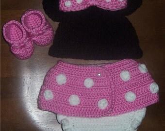 Crochet Newborn Minnie Mouse Inspired Set