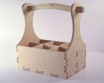 Wood beer box 6 pack carrier