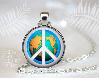 World Peace Necklace, Peace Jewelry, Political Issues, Peace sign earrings, Peace Sign Necklace, Anti-War, Peace Symbol Earrings