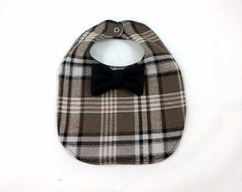 Plaid Baby Bib - Bowtie Bib - Brown Plaid Baby Bib - Dribble Bib - First Birthday Gift - Unique Baby Shower Gift - Hipster Baby