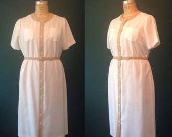 White dress- Simple white dress- Linen dress- Button down dress- Tan dress- Belted dress- Large dress-Shift- White shift-Neutral dress-Large