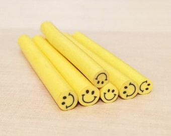Smiley Face Polymer Clay Cane (1 pc) Kawaii Nail Decals Embellishment A0361