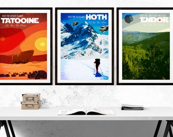 Set of Three - Star Wars Travel Poster Prints - Hoth - Endor - Tatooine (Available In Many Sizes)