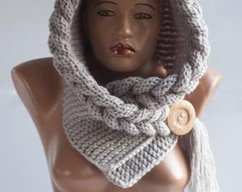 HOT Hooded Scarf, Scarf, Hood, scarf hooded, Chunky scarf, Wool cowl, LoveKnittings