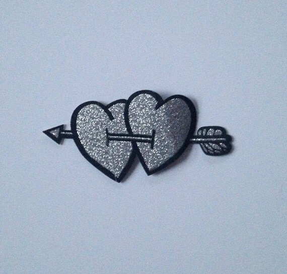 Silver Hearts with Arrow Iron on Patch