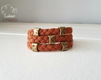 Wrap bracelet, bronze beads bracelet, fabric bracelet
