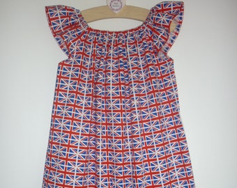 British Union Jack flag dress - angel/flutter sleeves - age newborn to 12 years
