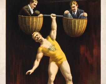 Sandow - 1895 vaudeville poster for Sandow strong man act