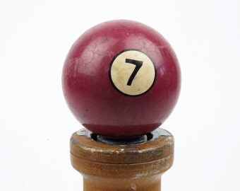 "7 Old Clay Billiard Ball Hyatt Vitalite Composition Size 2.25"" Pocket Balls Seven VII Maroon Burgundy Pool Stripes Soid Solids Stone"