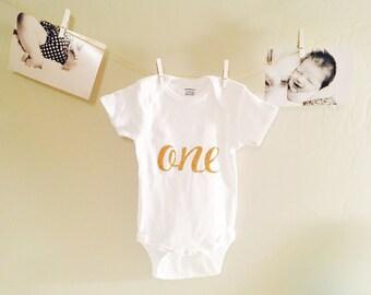Gold one onesie, first birthday, 1st birthday, gold one