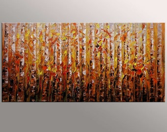 Abstract Painting, Canvas Art, LARGE Painting, Original Art, Birch Tree Painting, Abstract Oil Painting, Original Painting, Landscape Art