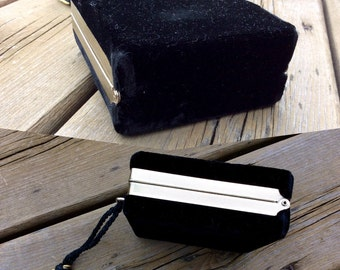 Vintage Black Velvet Box Purse w/ Tassel