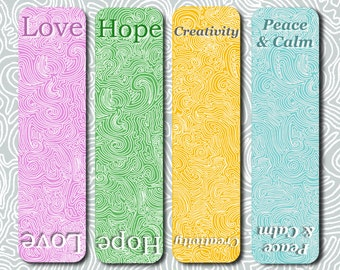 Printable Bookmarks - Love Hope Creativity Peace & Calm Bookmarks - PDF Download - Instant Download - Digital Download - Inspirational