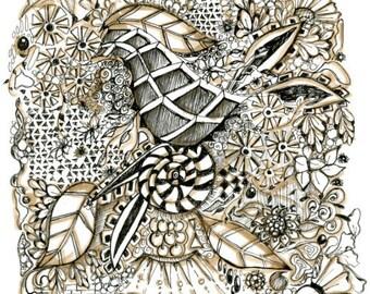 Monochrome zentangle inspired art on 6x6 bristol paper