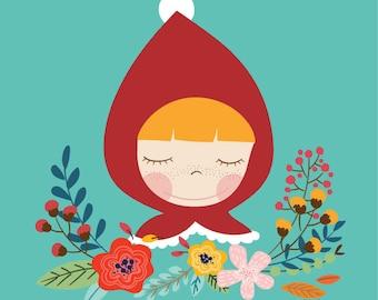 cute girl illustrations/Little Red Riding Hood illustration/kids room/wall Decoration/art print/girl illustrations/nursery room