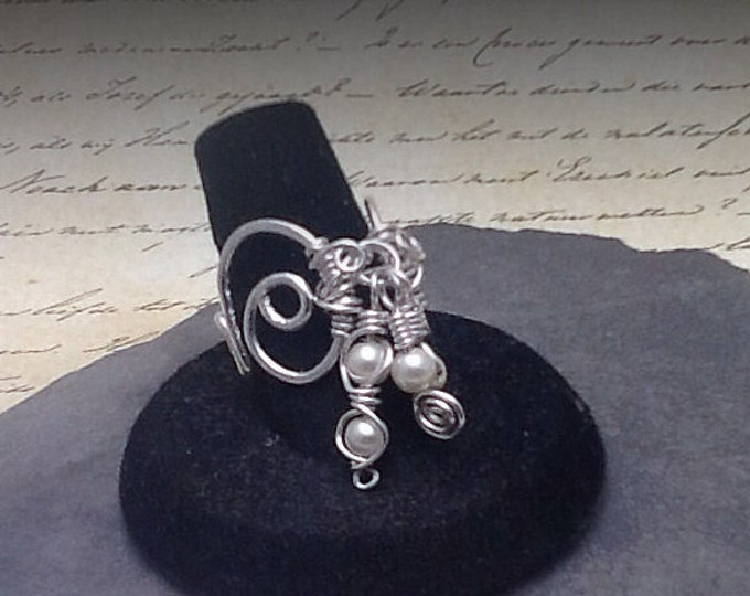Sterling silver filled ring with wire wrapped pearl dangles