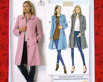 Butterick Sewing Pattern B6385 Fitted Classic Coats, Princess Seams, Size 6 8 10 12 14, Fall Winter, Lisette Fashion Outerwear Gift, UNCUT