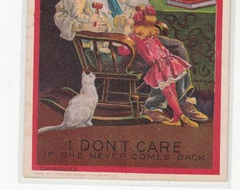 """Suffragette Series Postcard """"""""What Is A Home Without A Father I Dont Care If She Never Comes Back"""""""
