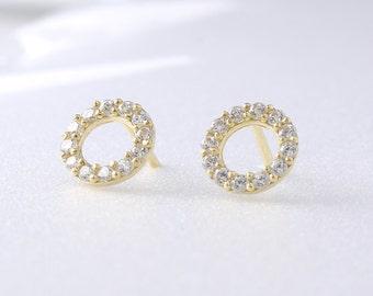 14K Solid Gold Dot Stud Earrings, 14K Small Studs, 14K Minimalist Earrings, 14K Circle Studs, Minimalist Earrings, 14K Simple Studs