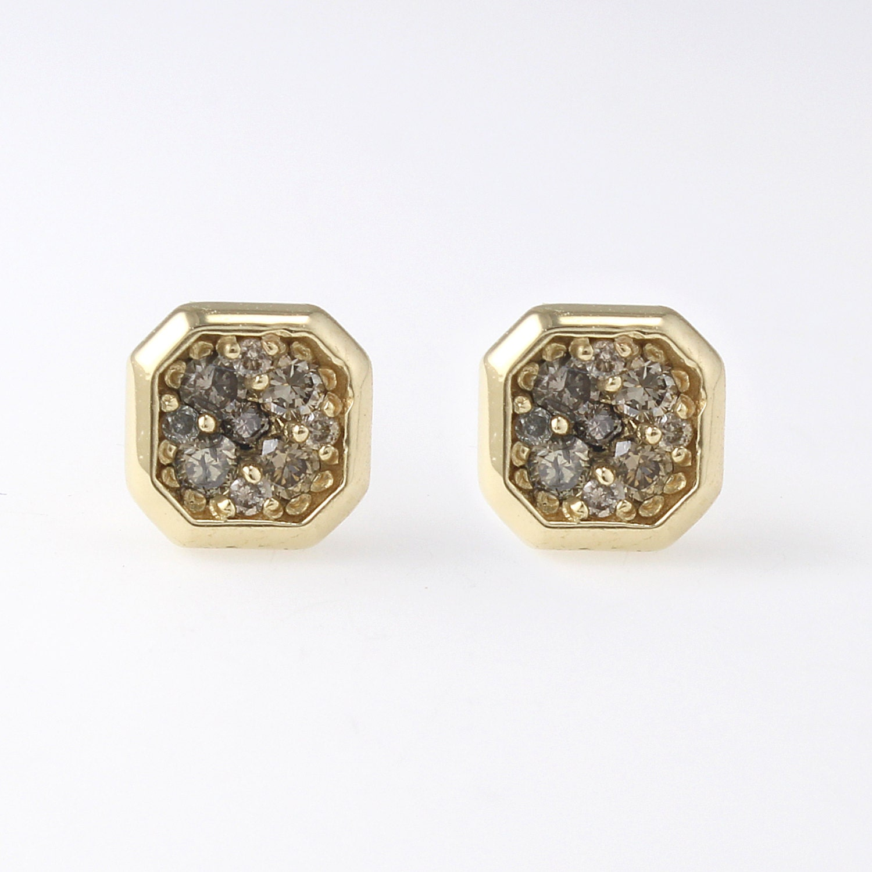 14k big solid gold champagne diamond studs earrings diamonds. Black Bedroom Furniture Sets. Home Design Ideas