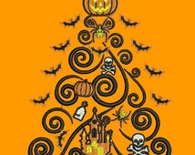 Halloween Tree Swirl with Pumpkin Castle Bats filled embroidery pattern 2 sizes Machine embroidery design Digital Download