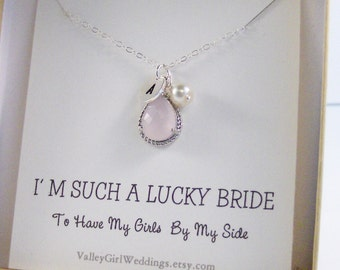 Pink Ice,Pink Bridesmaid Necklace,Bridesmaid Set,Jewelry Set,Pink Bridesmaid,Pink Necklace,Personalized Necklace,Initial,Wedding,valleygirl
