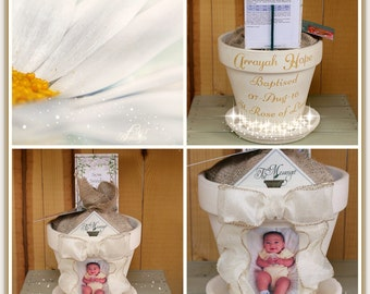 Personalized Baptism Pot|Baptism Gift|Catholic Gift|Burlap Flower Pot|Fabric Flower Pot|Spiritual Gift|Scritpure Flower|The Messenger Pot