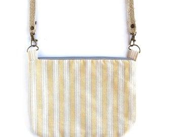 Small crossbody bag. Yellow striped fabric messenger bag. Summer bag. Striped shoulder bag.