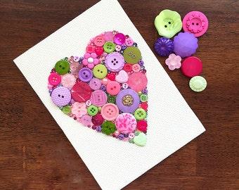 Custom Button Art - Button Heart Wall Hanging - Mixed Media Heart Wall Art - Nursery Decor - Heart Decor - Girl's Room Decor - Gift for Mom