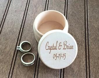 Custom Engraved Wood Ring Box Wedding Anniversary