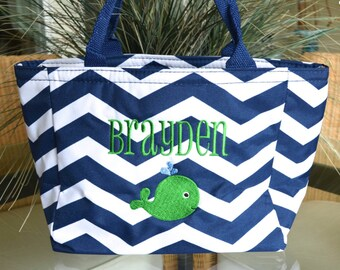Lunch Cooler, Insulated, Navy Chevron