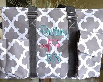 """19"""" or 16"""" Grey Clover Utility tote, Large Utility Tote, Nurse's Tote, Teacher's Tote, Personalized"""