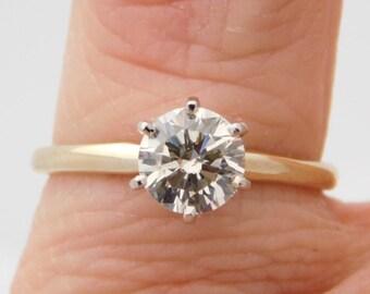1.01 Carat Ladies Round Cut Diamond Solitaire Engagement Ring 14K Yellow