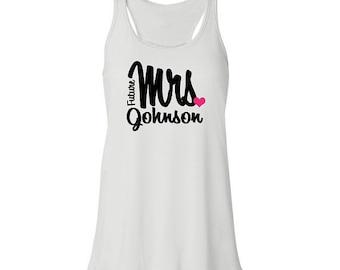 Future Mrs. Flowy Tank Top in white, mrs flowy tee, mrs t-shirt, mrs. loungewear gift, custom bridal apparel, personalized wedding gift idea