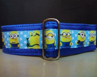 "Martingale Collar - Whippet, and small to medium dog - 1.5"" width - Minions"