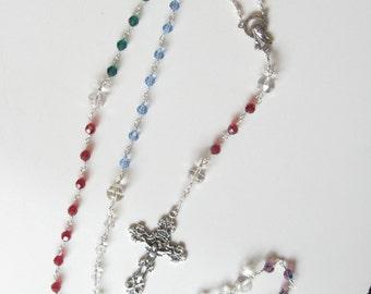 Catholic Rosary, Birthstone Rosary, Family Rosary, Swarovski Crystal, Handmade Rosary, Unbreakable Rosary, Prayer Beads, Christian Gifts