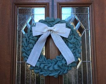 Bubble Burlap Wreath, Blue Wreath, Teal Wreath, Burlap Bow