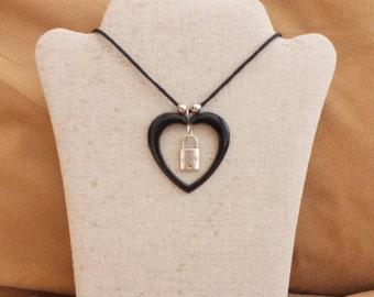 Black heart necklace, padlock love necklace, love necklace
